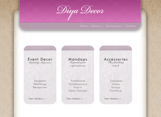 Diya Decor Site design and layout