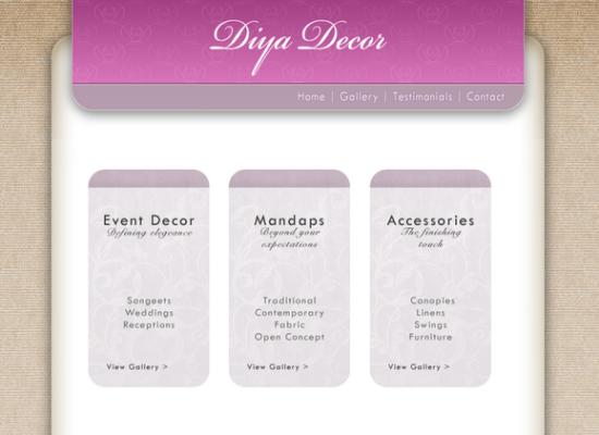Diya Decor Site design and layout