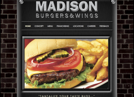 Madison Burgers & Wings Site design and layout