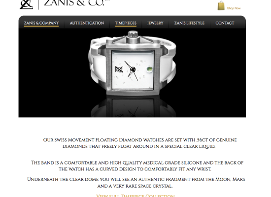 Zanis & Co Site design and layout