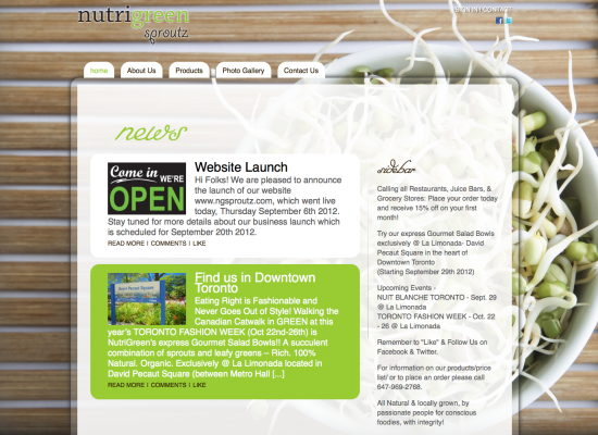 Nutri Green Site design and layout