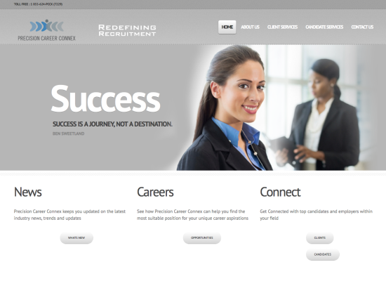 Precision Career Connex Site design and layout