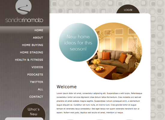 Sandra Rinomato Site design and layout