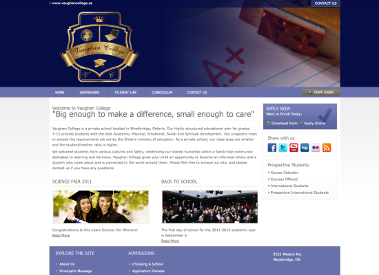 Vaughan College Site design and layout